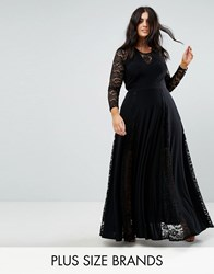 Club L Plus Lace Insert Maxi Dress Black