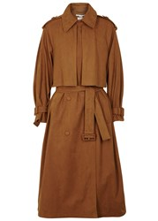 Stella Mccartney Cecile Faux Suede Trench Coat Tan