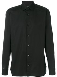 Z Zegna Classic Shirt Men Cotton Spandex Elastane 38 Black