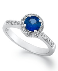 Macy's Sterling Silver Ring Tanzanite 1 2 Ct. T.W. And Diamond 1 6 Ct. T.W. Round Cut Ring