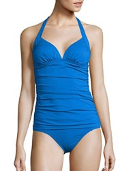 Tommy Pearl Solids Halterneck Shirred Long Tankini Blue