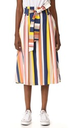 Tanya Taylor Alibi Striped Shelby Skirt Rust Multi
