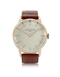 Locman 1960 Rose Gold Pvd Stainlees Steel Men's Watch W Brown Croco Leather Strap