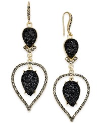 Inc International Concepts Gold Tone Jet Glitter Stone And Pave Orbital Drop Earrings Only At Macy's