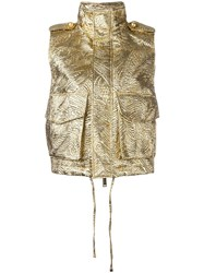 Dsquared2 Textured Hooded Gilet Metallic