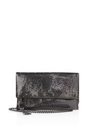 Whiting And Davis Snake Head Fold Over Crossbody Clutch Gunmetal