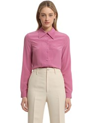 Gucci Silk Crepe Shirt W Pleated Detail