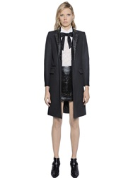 The Kooples Woven Wool Coat With Vinyl Lapels Black