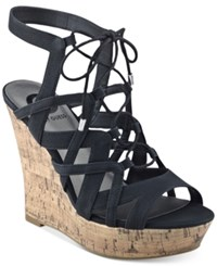G By Guess Dritta Cork Wedge Sandals Women's Shoes Black