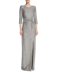 St. John Glamour Sequin Knotted Waist Gown Silver
