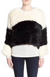 Women's Arielle 'Spiced' Colorblock Genuine Rabbit Fur Sweater