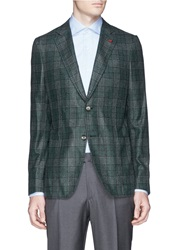 Isaia 'Cortina' Glen Plaid Cashmere Silk Blazer Green