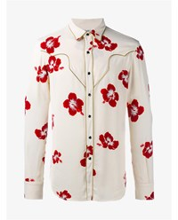 Saint Laurent Hibiscus Floral Print Shirt Ivory Red Blue