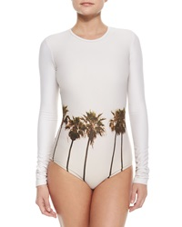Cover Upf 50 Palm Tree Print Long Sleeve Swimsuit