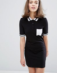 Monki Contrast Polo Neck Dress Black