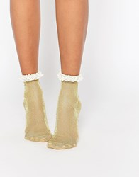 Asos Glitter Lace Trim Ankle Socks Gold