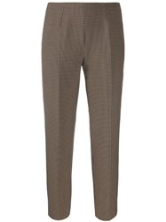 Piazza Sempione Checked Cropped Trousers Brown