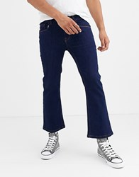 Heart And Dagger Skinny Jeans With Flare In Navy