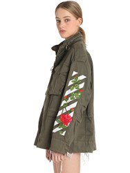Off White Roses Embroidered Canvas Field Jacket