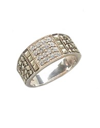 Lord And Taylor Sterling Silver Marcasite Crystal Band Ring