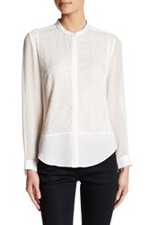 The Kooples Genuine Leather Trimmed Chiffon Blouse White