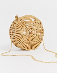 New Look Round Slatted Wood Bag In Stone