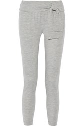 Tibi Merino Wool Jersey Track Pants Light Gray