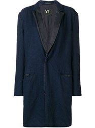 Y's Classic Single Breasted Coat Blue