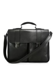 Giorgio Armani Large Leather Briefcase Black