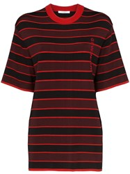 Givenchy Logo Embroidered Striped Top Black