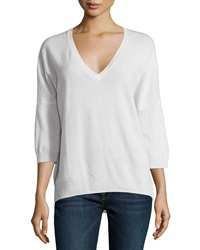 Minnie Rose Cashmere V Neck 3 4 Sleeve High Low Sweater White