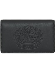 Burberry Small Embossed Crest Two Tone Leather Wallet Black