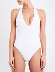French Connection Halterneck Plunge Swimsuit Summer White
