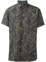 Salvatore Ferragamo Printed Short Sleeve Shirt Khaki