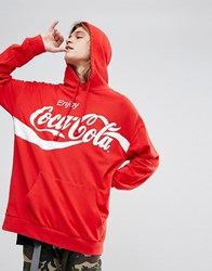 Bershka Hoodie With Coca Cola Slogan In Red Red