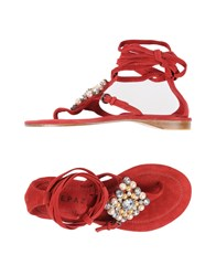 Apepazza Toe Strap Sandals Brick Red