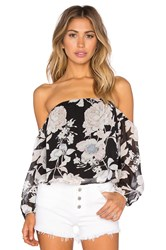 Lucca Couture Crop Off Shoulder 3 4 Sleeve Top Black