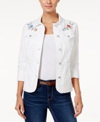 Charter Club Embroidered Denim Jacket Only At Macy's Bright White
