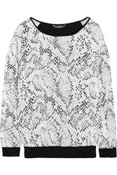 Tart Caelina Snake Print Crepe De Chine And Stretch Modal Top Black
