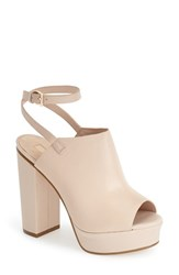 Women's Topshop 'Sagittarius' Leather Ankle Strap Open Toe Platform Sandal Nude