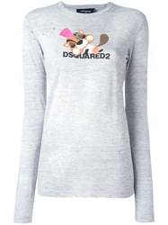 Dsquared2 Squirrel Logo T Shirt Grey