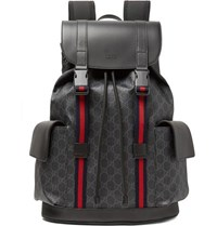 Gucci Leather Trimmed Monogrammed Coated Canvas Backpack Black