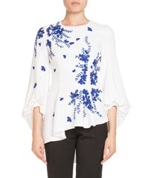 Andrew Gn Embroidered Blouson Sleeve Top White Blue
