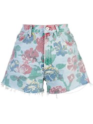Citizens Of Humanity Floral Print Denim Shorts Blue