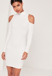 Missguided High Neck Cold Shoulder Bodycon Dress White White