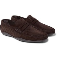 Harry's Of London Harrys Basel 4 Perforated Suede Penny Loafers Brown