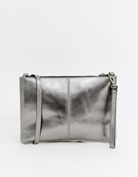 Warehouse Leather Across Body Bag In Pewter Silver