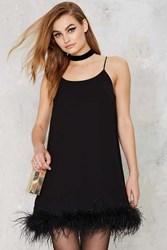 Nasty Gal Time After Time Feather Trim Mini Dress Black