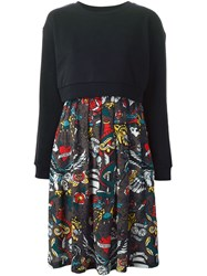 Love Moschino Tattoo Print Skirt Sweatshirt Dress Black