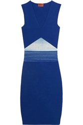Missoni Crochet Knit Paneled Stretch Ponte Dress Blue
